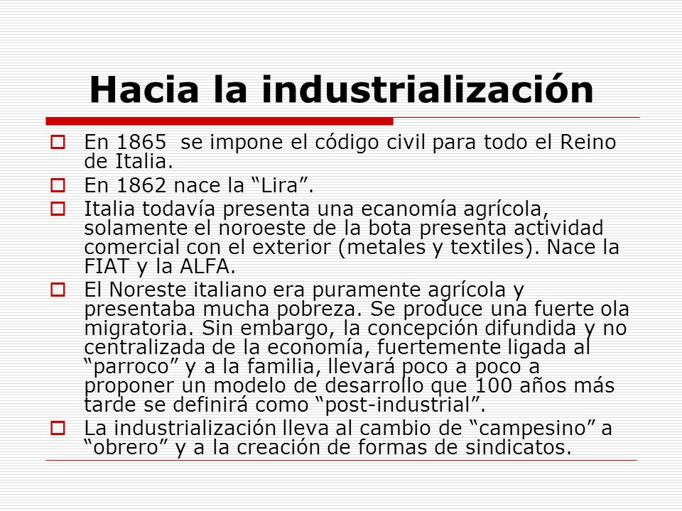 Hacia la industrialización