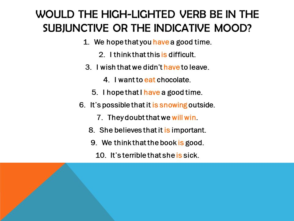 WOULD THE HIGH-LIGHTED VERB BE IN THE SUBJUNCTIVE OR THE INDICATIVE MOOD