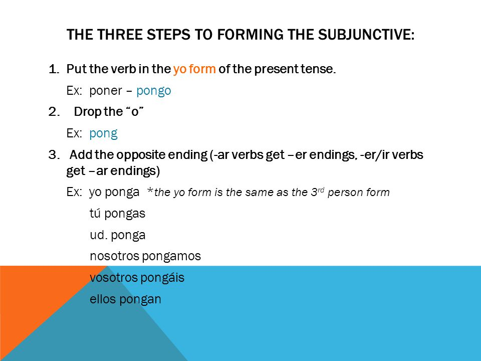 THE THREE STEPS TO FORMING THE SUBJUNCTIVE: