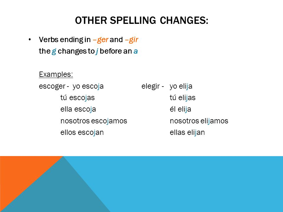 OTHER SPELLING CHANGES: