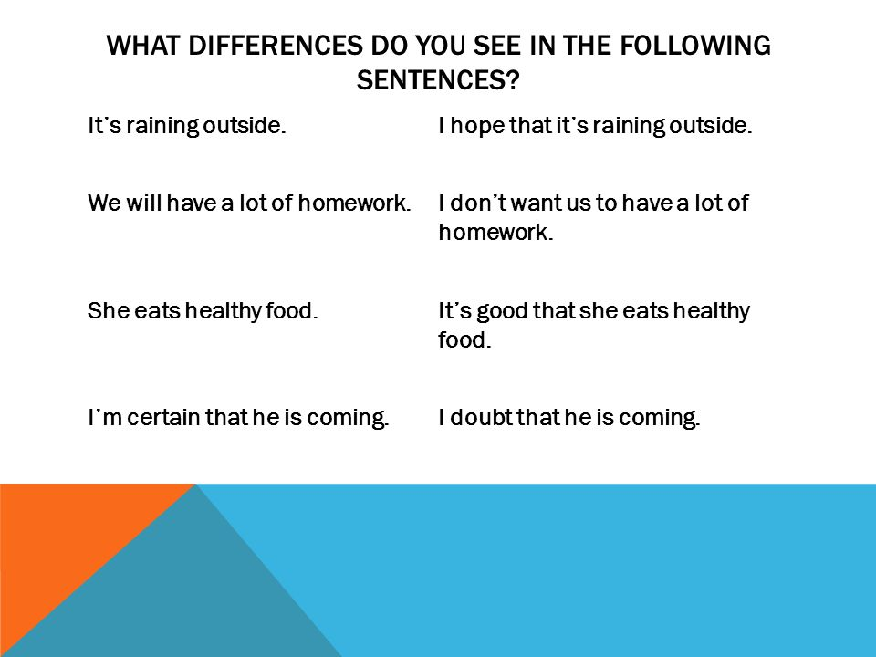 WHAT DIFFERENCES DO YOU SEE IN THE FOLLOWING SENTENCES