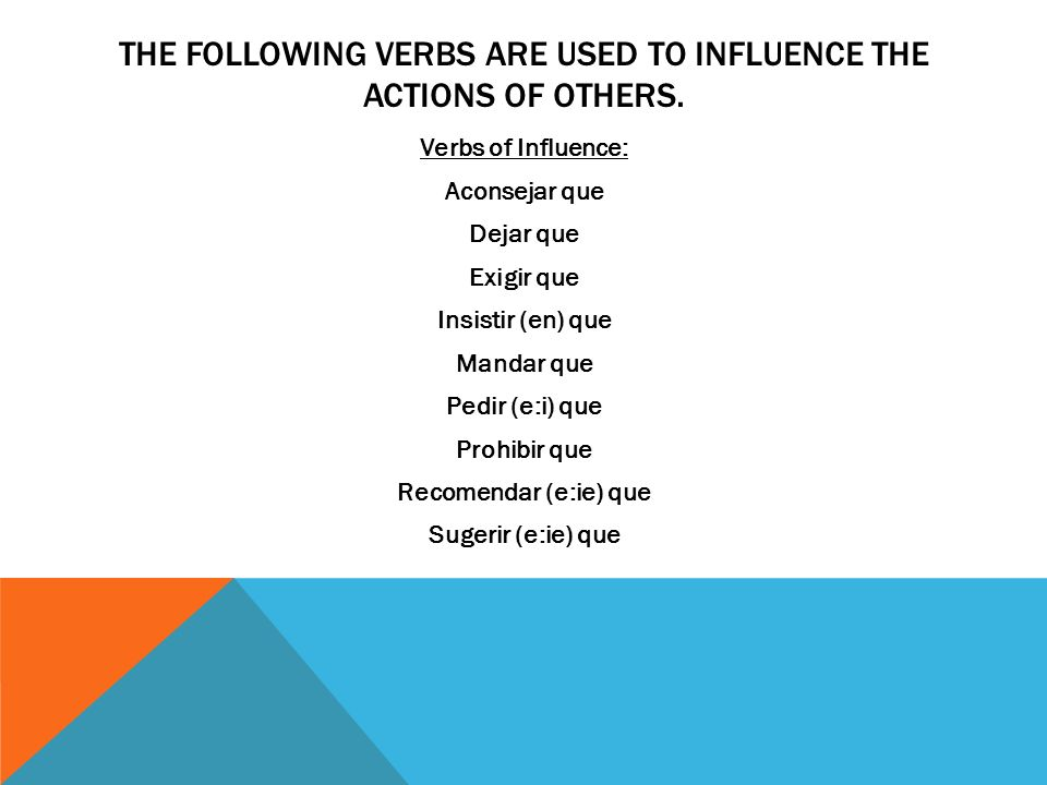 THE FOLLOWING VERBS ARE USED TO INFLUENCE THE ACTIONS OF OTHERS.