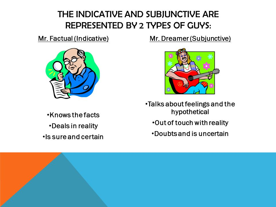 THE INDICATIVE AND SUBJUNCTIVE ARE REPRESENTED BY 2 TYPES OF GUYS: