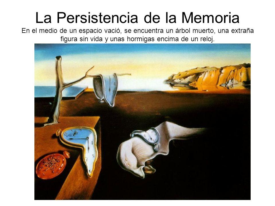 La Persistencia de la Memoria En el medio de un espacio vació, se encuentra un árbol muerto, una extraña figura sin vida y unas hormigas encima de un reloj.