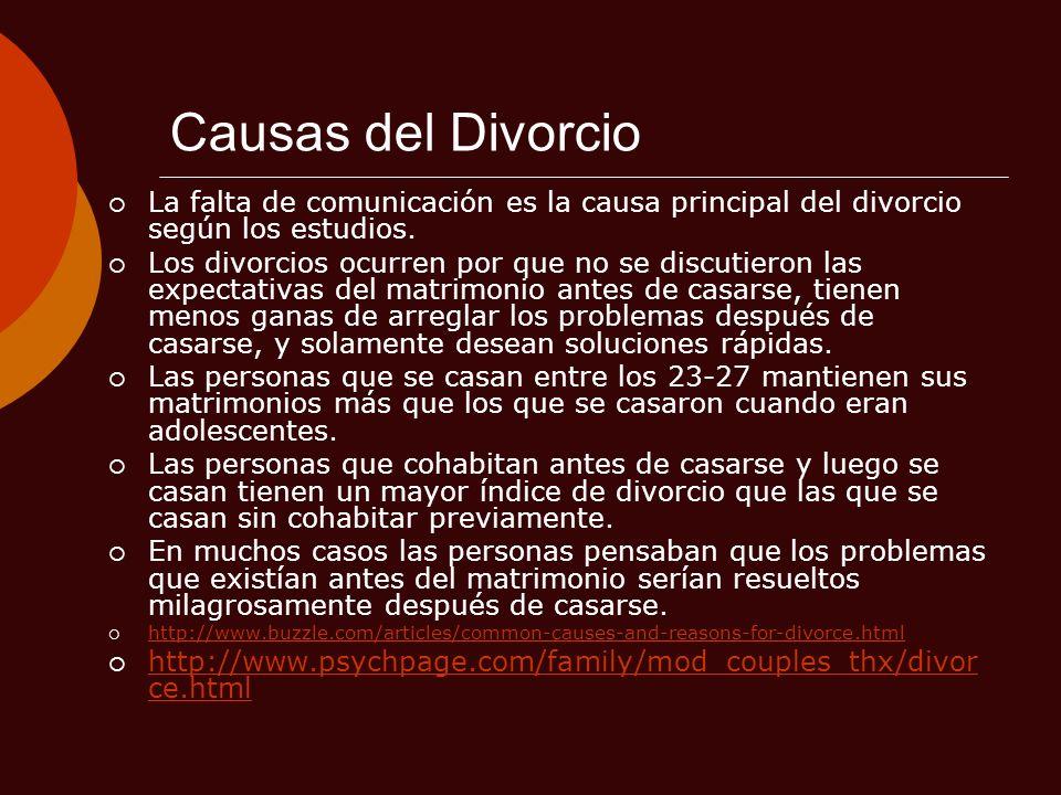 Causas del DivorcioLa falta de comunicación es la causa principal del divorcio según los estudios.