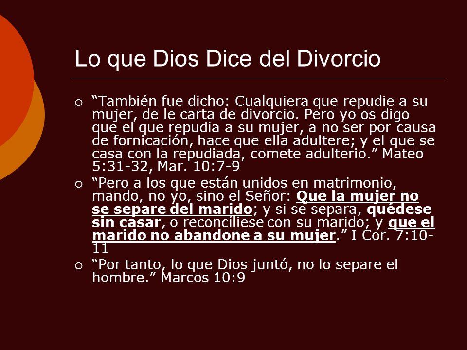 Lo que Dios Dice del Divorcio