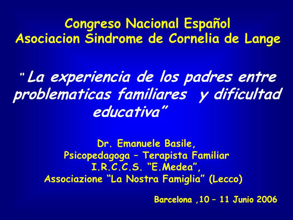 Congreso Nacional Español Asociacion Sindrome de Cornelia de Lange