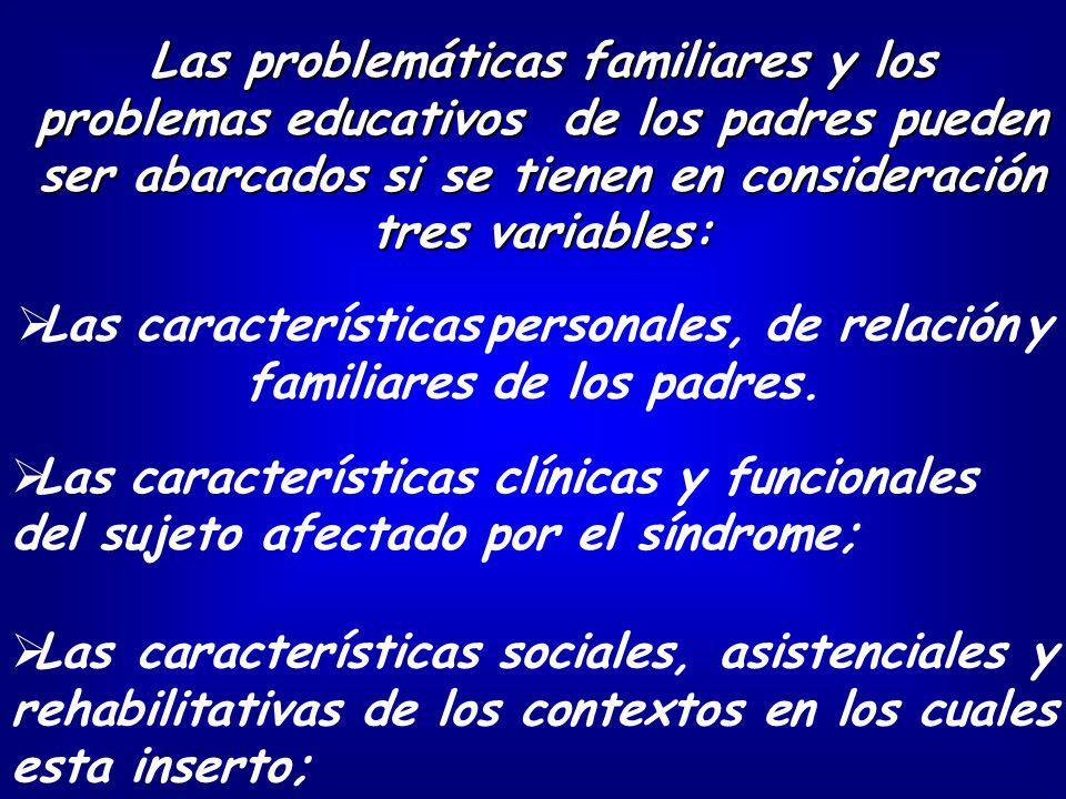 Las problemáticas familiares y los problemas educativos de los padres pueden ser abarcados si se tienen en consideración tres variables: