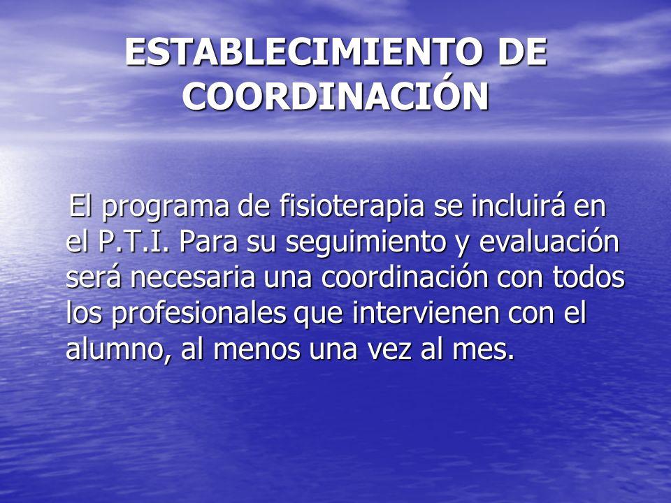 ESTABLECIMIENTO DE COORDINACIÓN