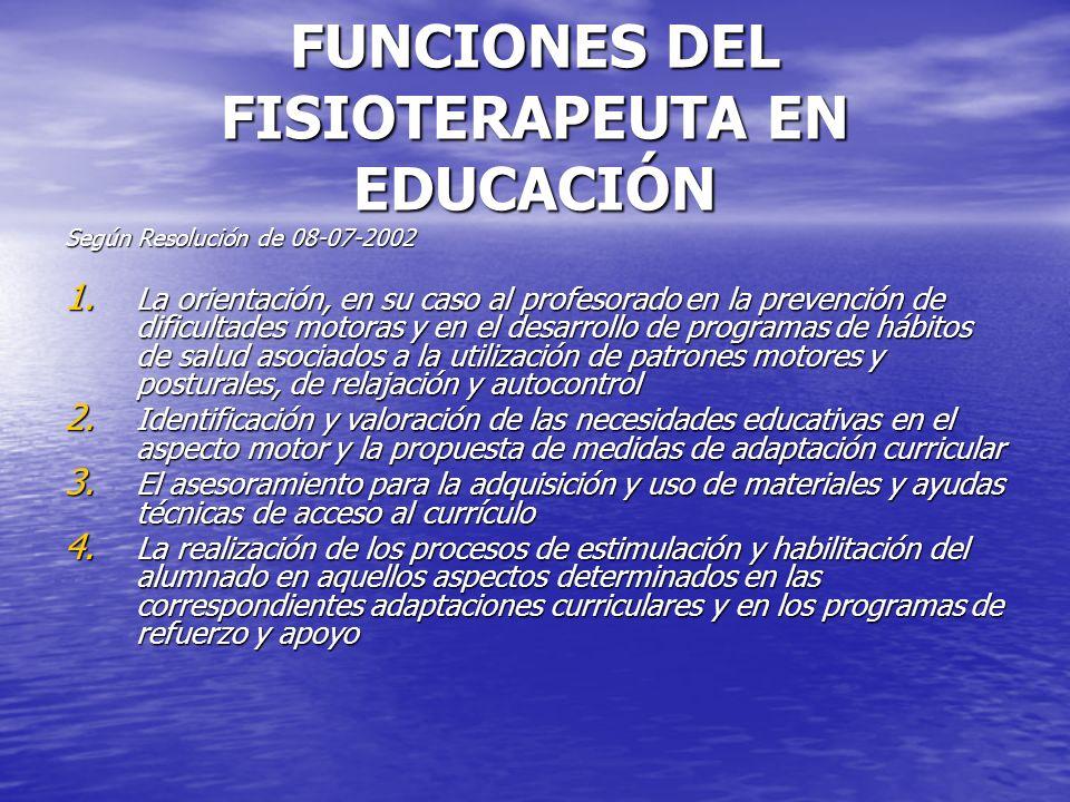 FUNCIONES DEL FISIOTERAPEUTA EN EDUCACIÓN