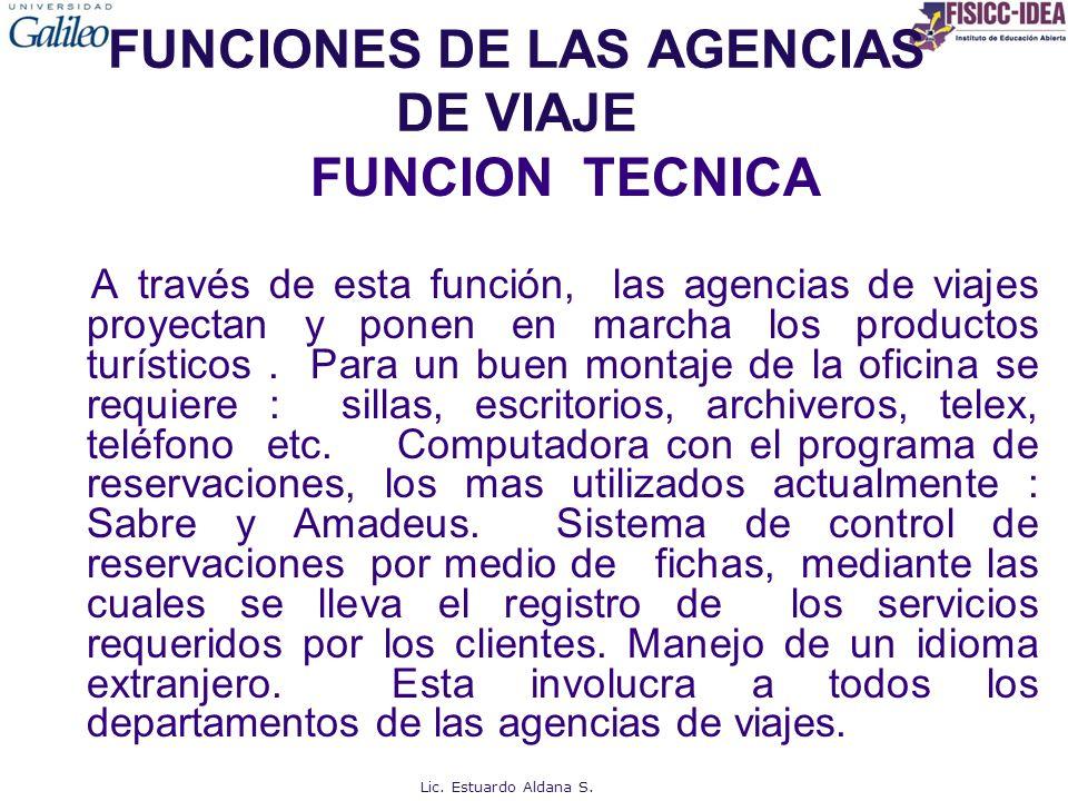 FUNCIONES DE LAS AGENCIAS DE VIAJE