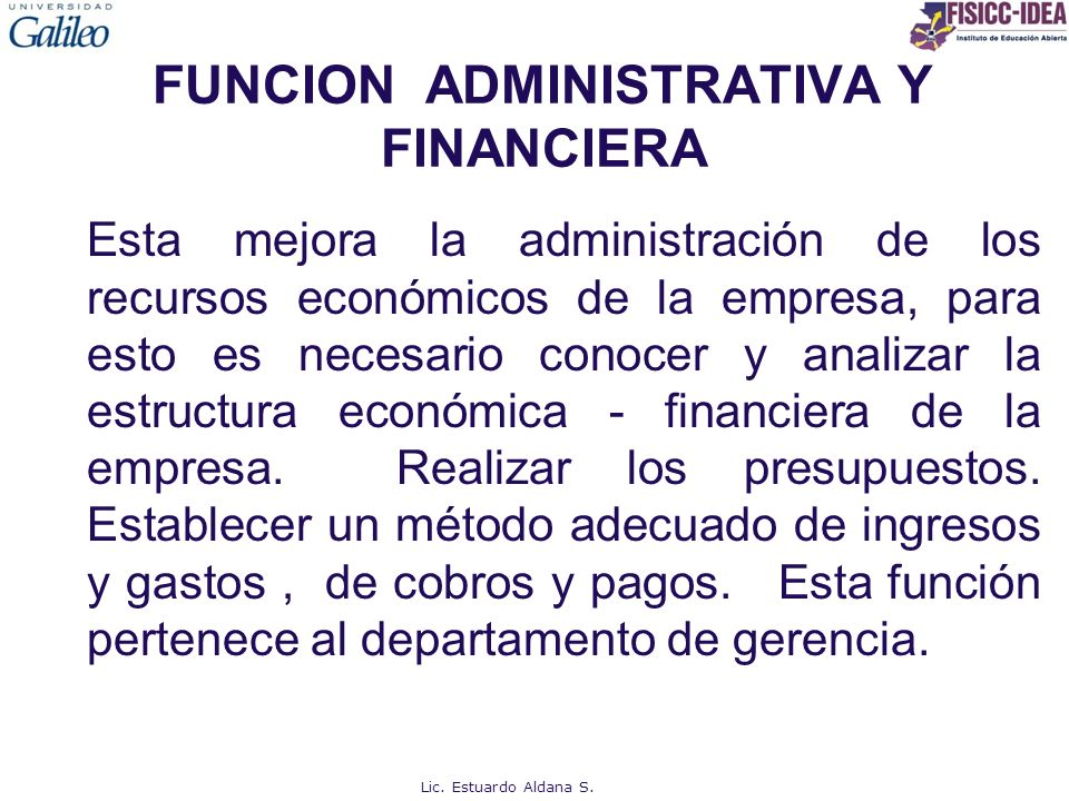 FUNCION ADMINISTRATIVA Y FINANCIERA