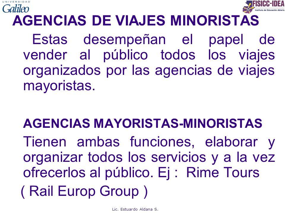AGENCIAS DE VIAJES MINORISTAS Estas desempeñan el papel de vender al público todos los viajes organizados por las agencias de viajes mayoristas. AGENCIAS MAYORISTAS-MINORISTAS Tienen ambas funciones, elaborar y organizar todos los servicios y a la vez ofrecerlos al público. Ej : Rime Tours ( Rail Europ Group )