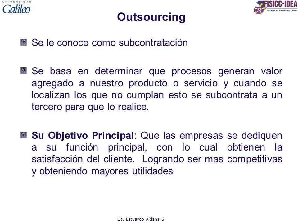 Outsourcing Se le conoce como subcontratación