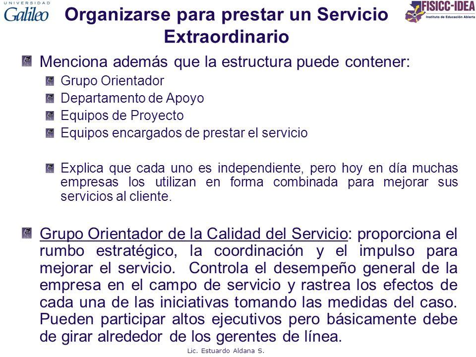 Organizarse para prestar un Servicio Extraordinario