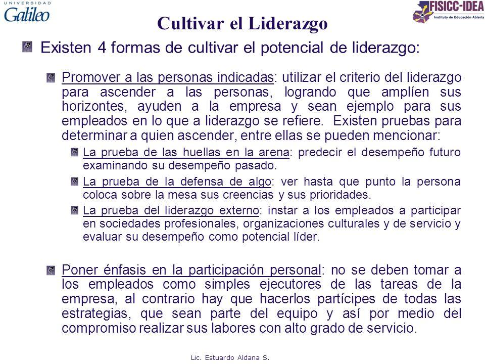 Cultivar el Liderazgo Existen 4 formas de cultivar el potencial de liderazgo:
