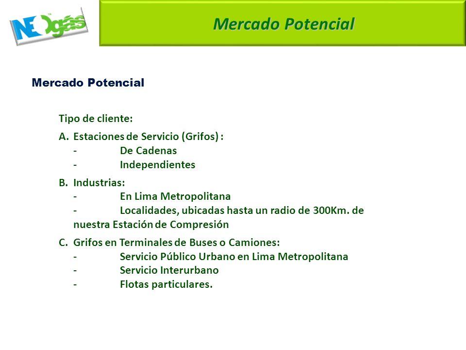 Mercado Potencial A. Estaciones de Servicio (Grifos) : - De Cadenas
