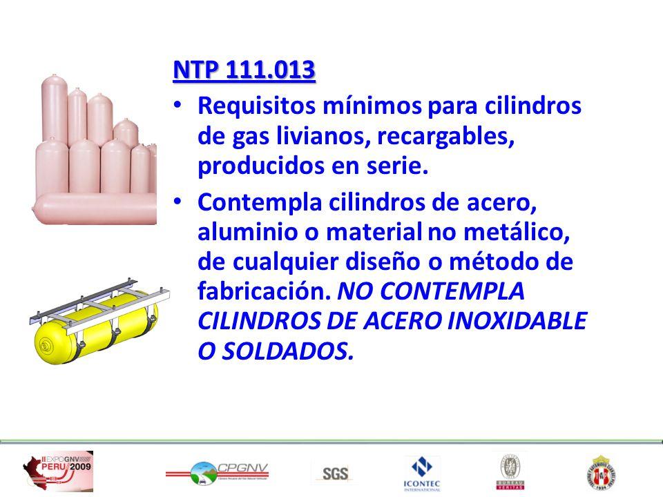 NTP 111.013 Requisitos mínimos para cilindros de gas livianos, recargables, producidos en serie.