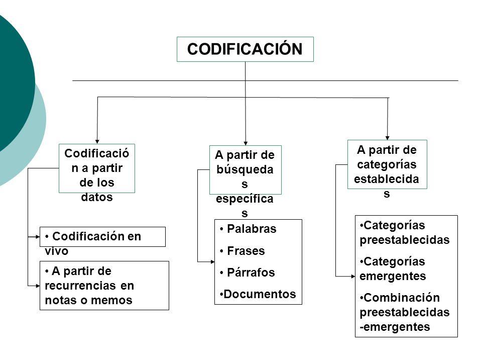 CODIFICACIÓN A partir de categorías establecidas