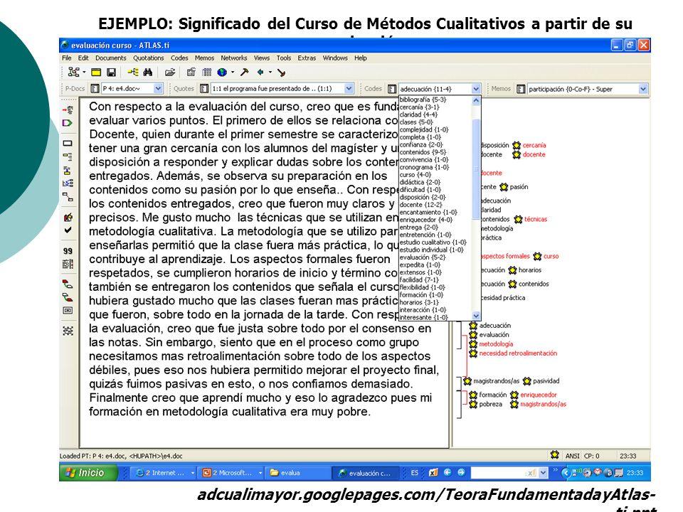 EJEMPLO: Significado del Curso de Métodos Cualitativos a partir de su evaluación.