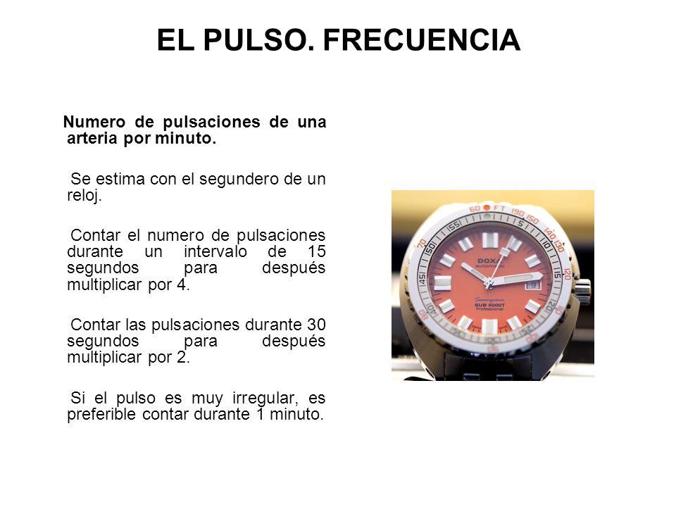 EL PULSO. FRECUENCIA Numero de pulsaciones de una arteria por minuto.