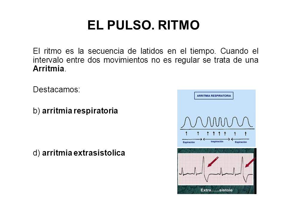 EL PULSO. RITMO El ritmo es la secuencia de latidos en el tiempo. Cuando el intervalo entre dos movimientos no es regular se trata de una Arritmia.
