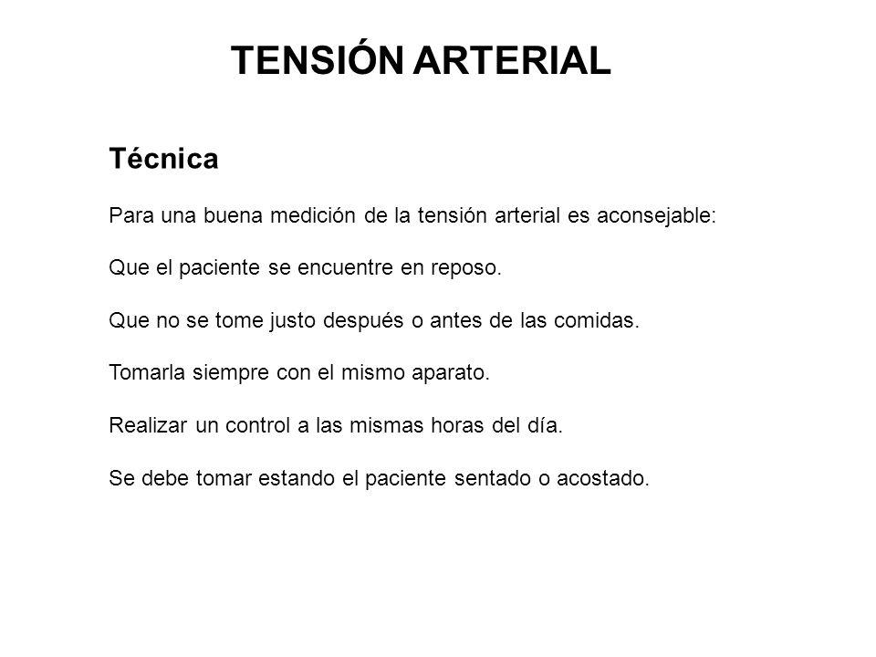 TENSIÓN ARTERIAL Técnica