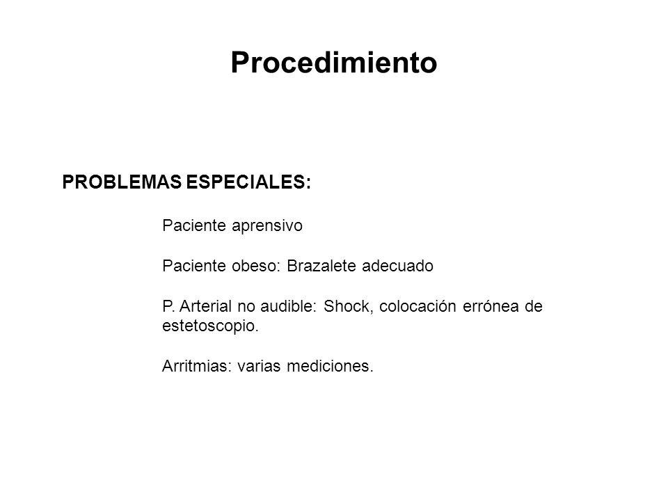 Procedimiento PROBLEMAS ESPECIALES: Paciente aprensivo