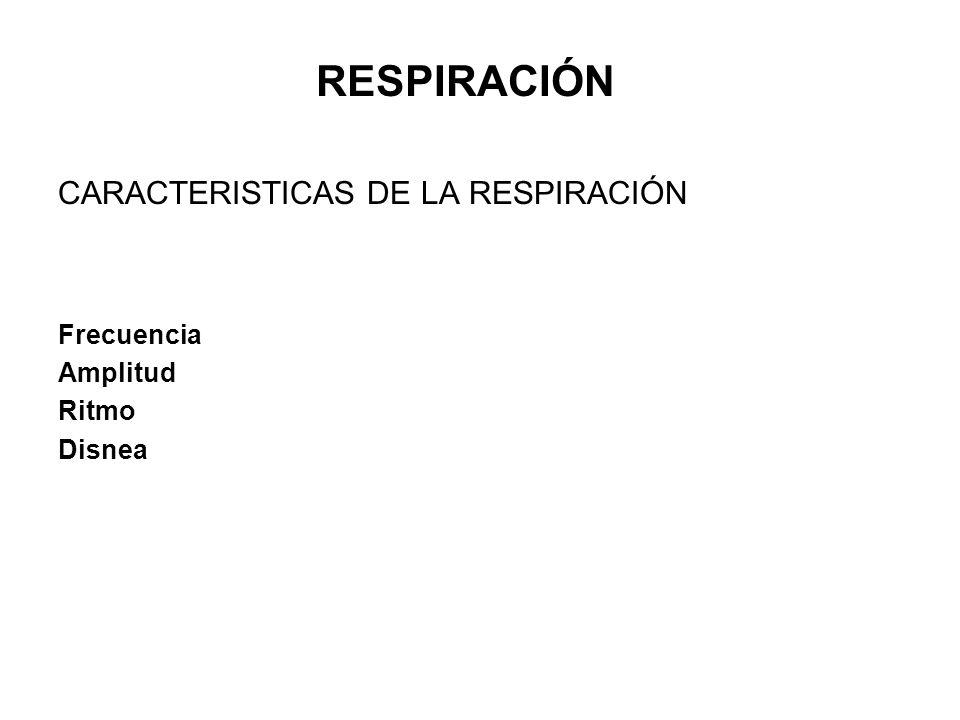 RESPIRACIÓN CARACTERISTICAS DE LA RESPIRACIÓN Frecuencia Amplitud
