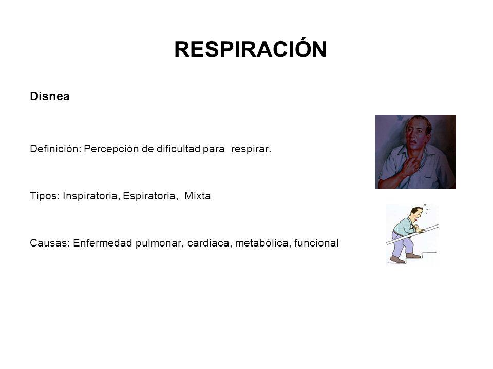 RESPIRACIÓN Disnea Definición: Percepción de dificultad para respirar.