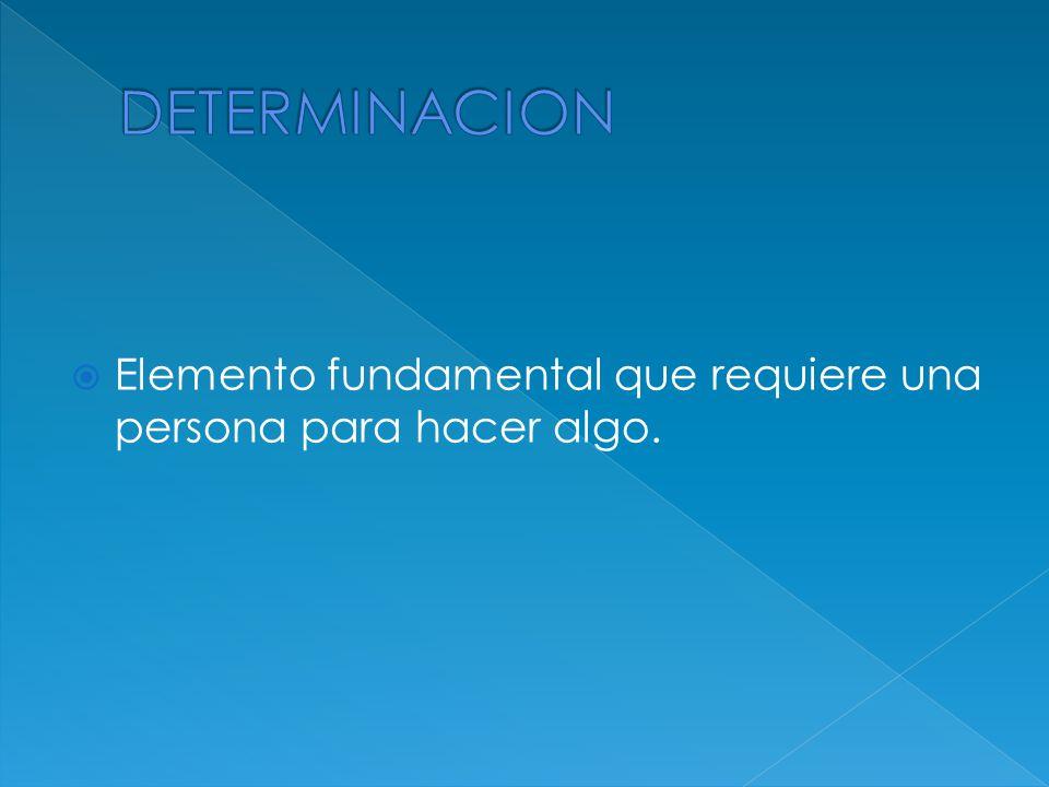 DETERMINACION Elemento fundamental que requiere una persona para hacer algo.