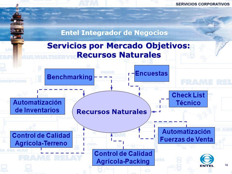 Servicios por Mercado Objetivos: Recursos Naturales