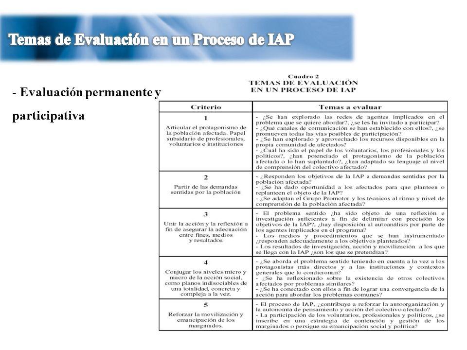 Temas de Evaluación en un Proceso de IAP