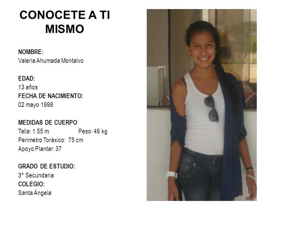 CONOCETE A TI MISMO NOMBRE: Valeria Ahumada Montalvo EDAD: 13 años