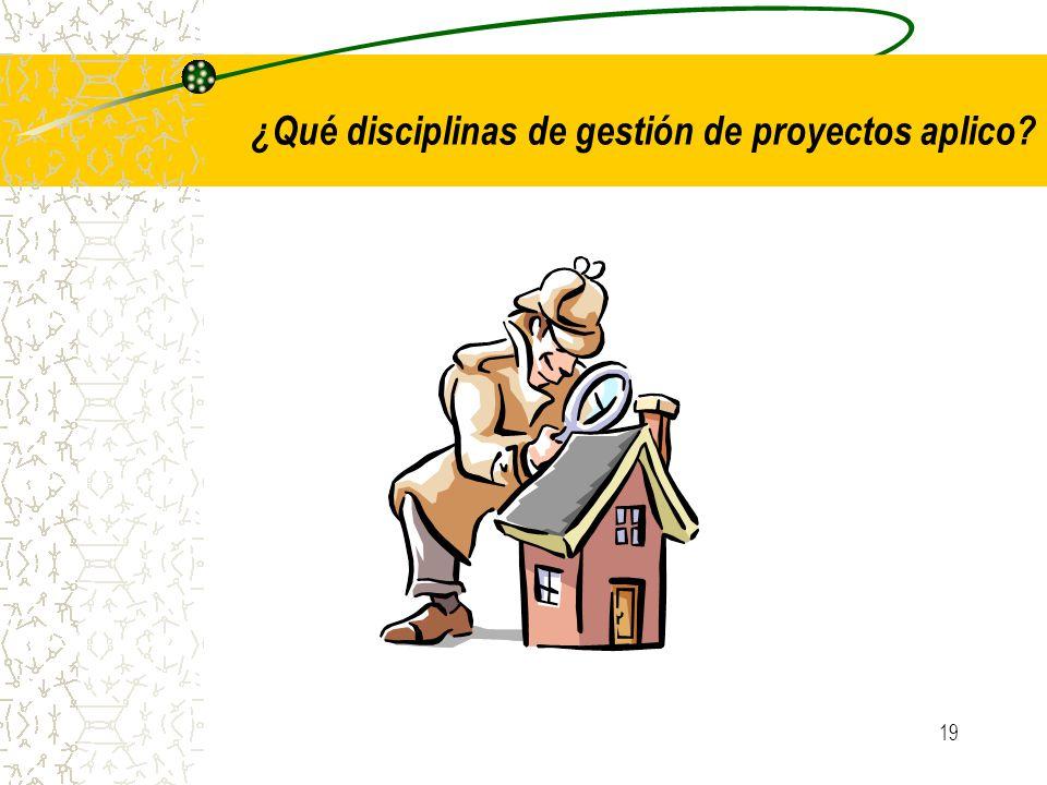 ¿Qué disciplinas de gestión de proyectos aplico