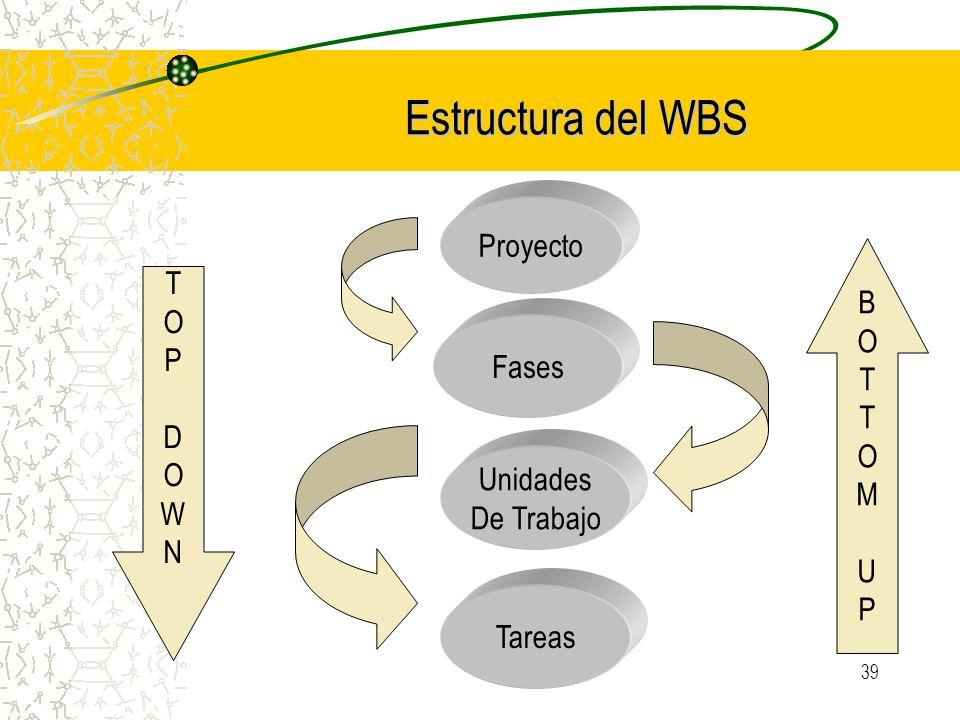 Estructura del WBS Proyecto B T O P Fases D M W U N Unidades