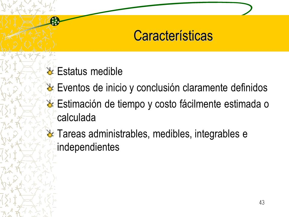 Características Estatus medible
