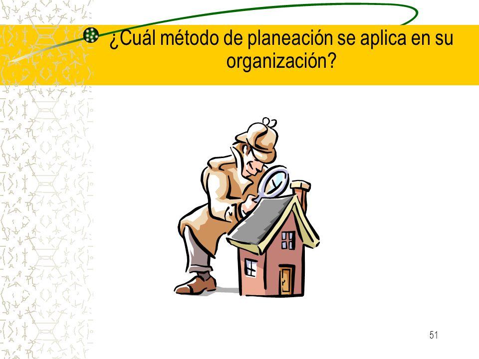 ¿Cuál método de planeación se aplica en su organización