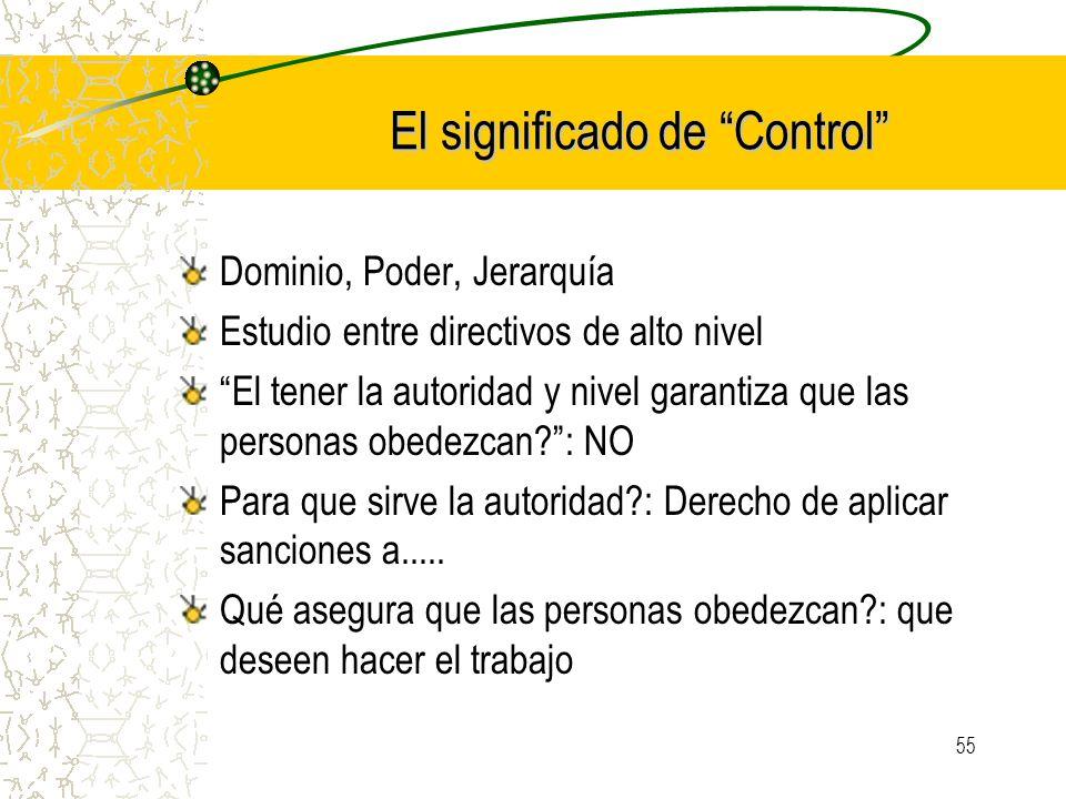 El significado de Control