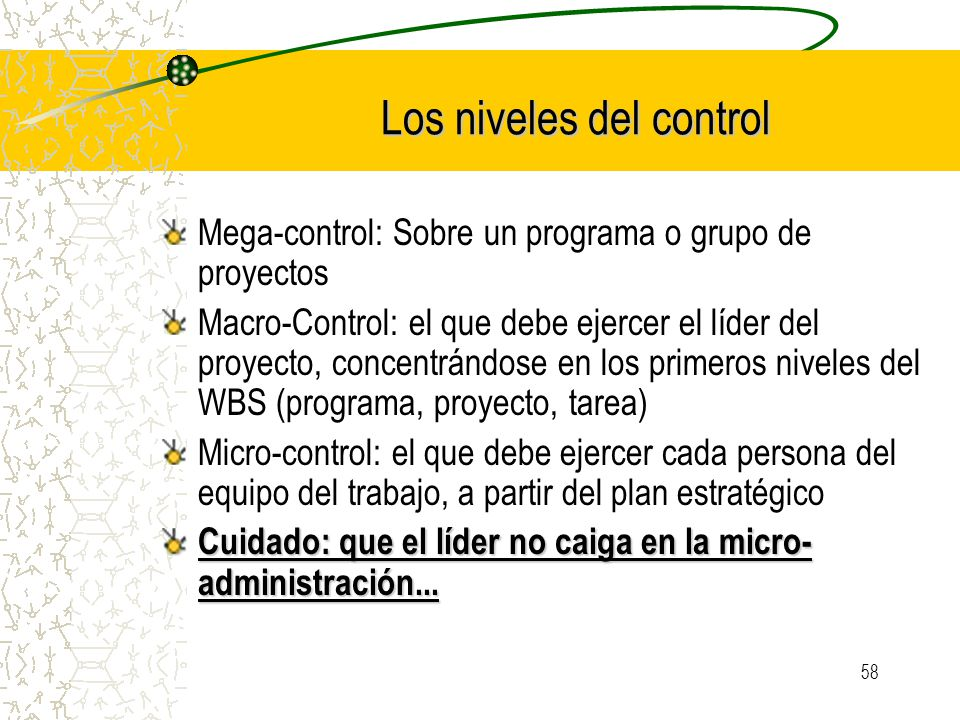 Los niveles del control