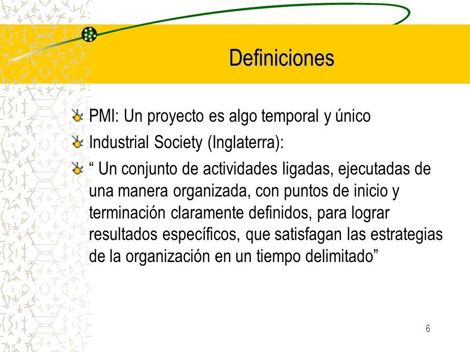 Definiciones PMI: Un proyecto es algo temporal y único