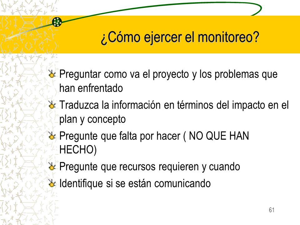 ¿Cómo ejercer el monitoreo