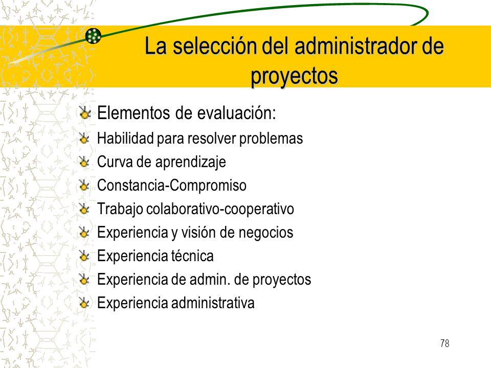 La selección del administrador de proyectos