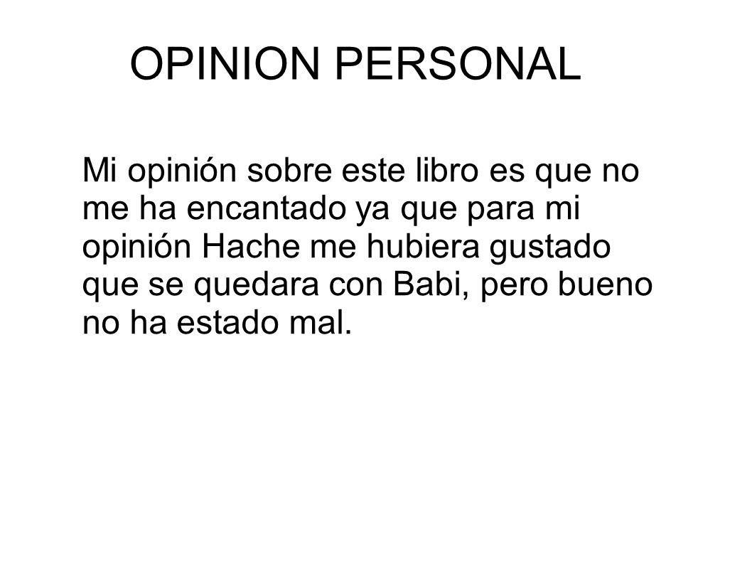 OPINION PERSONAL