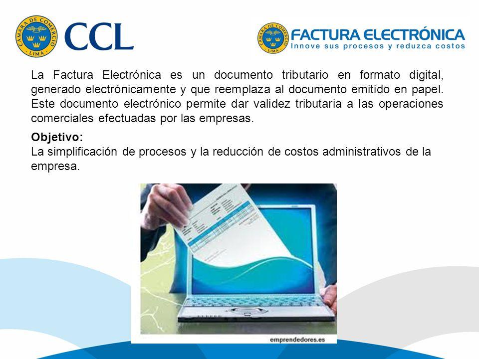 La Factura Electrónica es un documento tributario en formato digital, generado electrónicamente y que reemplaza al documento emitido en papel. Este documento electrónico permite dar validez tributaria a las operaciones comerciales efectuadas por las empresas.