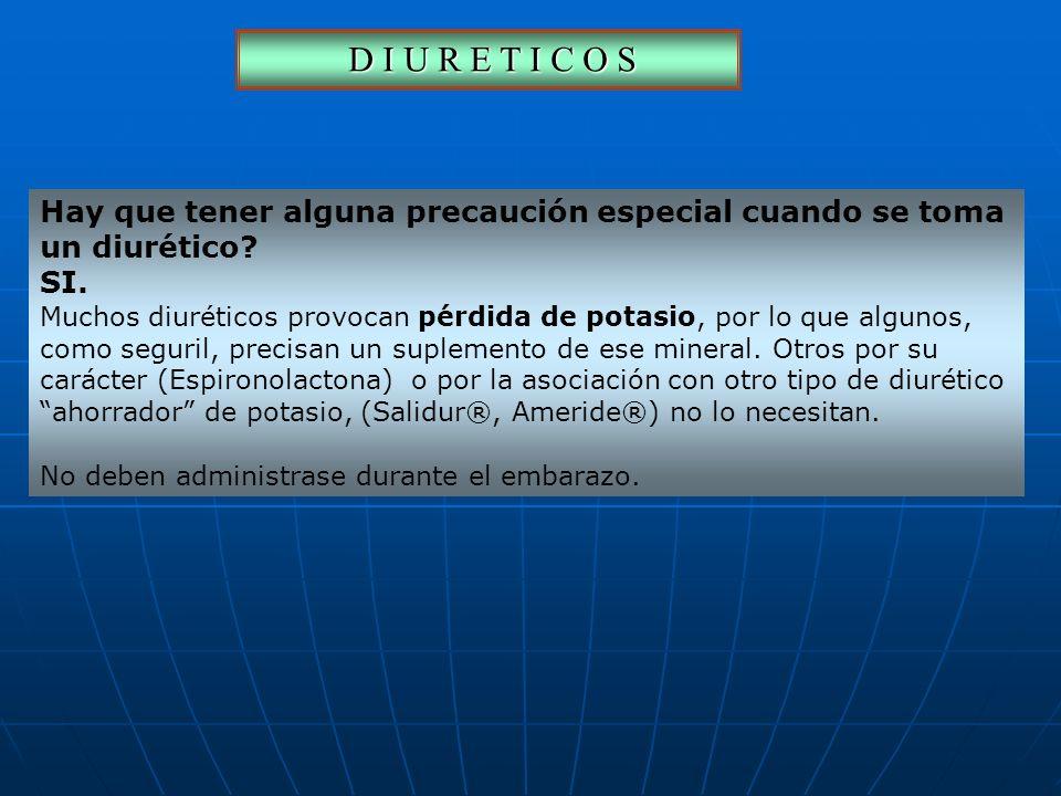 D I U R E T I C O S Hay que tener alguna precaución especial cuando se toma. un diurético SI.