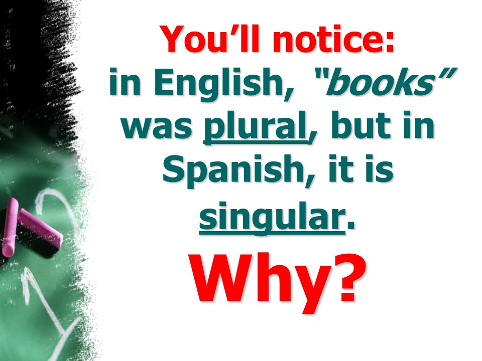 You'll notice: in English, books was plural, but in Spanish, it is singular. Why