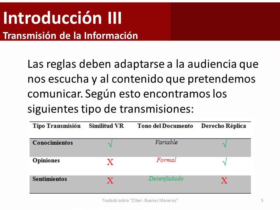 Introducción III Transmisión de la Información