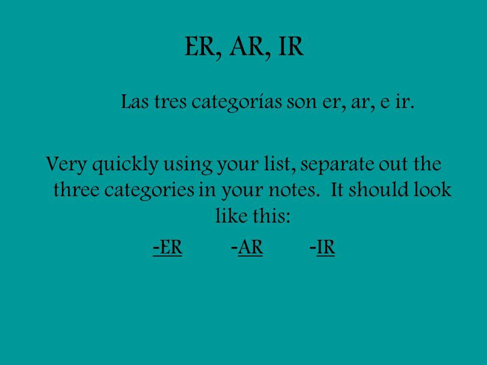 Las tres categorías son er, ar, e ir.