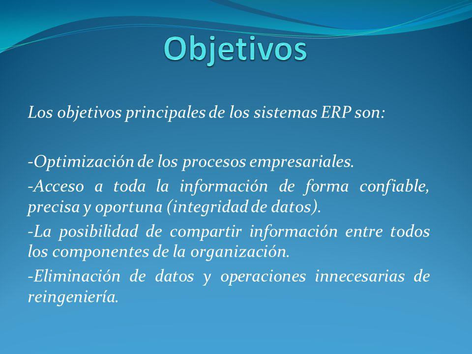 Objetivos Los objetivos principales de los sistemas ERP son: